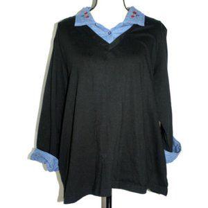 Blair Women 2XL Black TShirt Denim Trim Embroidery